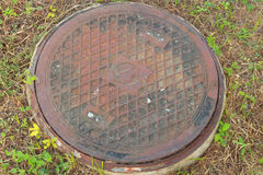 Sewer cover the grass Royalty Free Stock Photography
