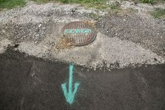 Sewer Drain Labelled and Marked Royalty Free Stock Photography