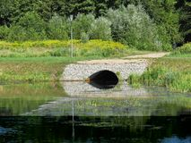 Sewer Drain Manhole Culvert Reflection on Water Surface royalty free stock photos