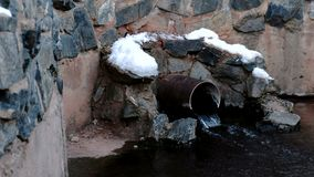 Sewer drain from pipes during the winter.