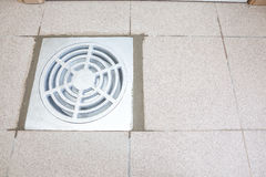 An sewer drain. There is a sewer drain in the ground with cement fattene Royalty Free Stock Photography