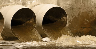 Sewer drains banner. Web banner of toxic water in the environment Stock Photo