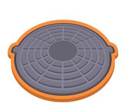Sewer hatch with lid. A flat icon in a cartoon style. vector illustration isolated on white background. Sewer hatch with lid. A flat icon in a cartoon style vector illustration