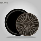 Sewer hatch with lid. open manhole. vector illustration isolated on white background. Eps10 vector illustration