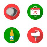A sewer hatch, a tool box, a wash basin and other equipment.Plumbing set collection icons in flat style vector symbol Stock Photos