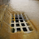 Sewer. Heavy rain drains on a sewer downtown Palma de Majorca, on the Spanish island Royalty Free Stock Image