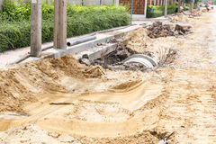 Sewer installation in city Royalty Free Stock Images