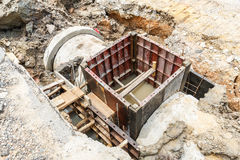 Sewer installation in city Stock Photography
