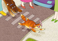 Sewer manhole 2. The red cat escapes from a dog with sausages through road Royalty Free Stock Photo