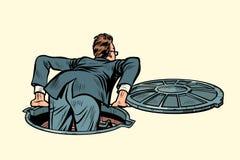 The sewer manhole. businessman climbs up. Pop art retro vector illustration kitsch vintage stock illustration