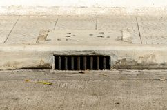 Sewer manhole under sidwalk 0n concrete road. Stock Photo