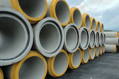 Sewer pipe. Concrete sewer pipe warehouse prepare to use Royalty Free Stock Image