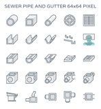 Sewer pipe icon. Sewer pipe and gutter icon set, 64x64 perfect pixel and editable stroke stock illustration