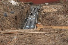 Sewer pipe in trench stock images