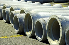Sewer Pipes. Photo of Concrete Sewer Pipes Royalty Free Stock Images