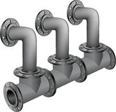 Sewer pipes. The complete set of pipes of a collector for plumbing and sanitary Stock Photo