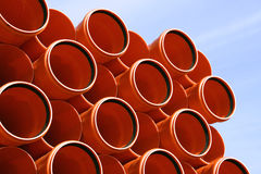 Sewer pipes. Colorful PVC pipes abstract. Industrial object concept royalty free stock images