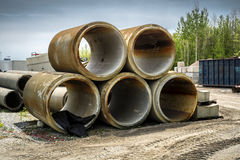 Sewer Pipes. Concrete Sewer Pipes in a construction yard royalty free stock image