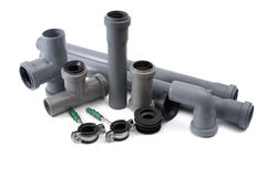 Sewer pipes of pvc Stock Image