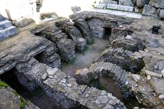 Sewer system in Old city Perga, Turkey. Perga or Perge (Greek: Πέργη Perge, Turkish: Perge) was an ancient Greek city in Anatolia, once the capital of Royalty Free Stock Photo