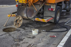 Sewer tanker and equipment. For remove the blockage and clean the sewer royalty free stock images