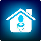 Sewerage. Home with a toilet sign Stock Images