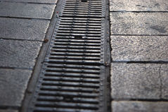 Sewerage system. On the footpath Royalty Free Stock Photo