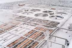 Sewerage treatment in water tanks in winter Royalty Free Stock Photos