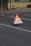 Sewerage works. A german folding sign on a road that says sewerage works (Kanalarbeiten Royalty Free Stock Image