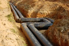 Sewige or supply pipes system Stock Photo