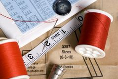 Sewing 1. Supplies are laid out on a table for a sewing project Royalty Free Stock Images