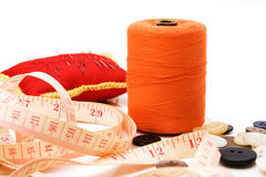 Sewing. Set - needles, buttons, threads Stock Photos