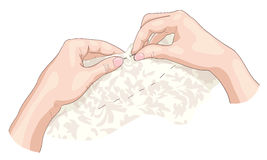 Sewing. Illustration on white background Royalty Free Stock Photo