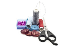 Sewing accessories. On a white background Royalty Free Stock Photo