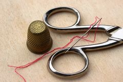Sewing accessories. Sa closeup of some sewing accessories Royalty Free Stock Photo