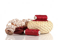 Sewing Accessories. Neatly folded in the basket royalty free stock images