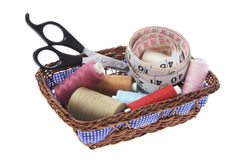 Sewing Accessories in Basket Stock Photo