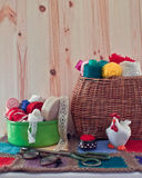 Sewing accessories in the basket. Royalty Free Stock Image