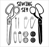 Sewing accessories in black color illustration Stock Images
