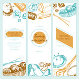 Sewing Accessories - color drawn template banner. Stock Images