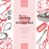 Sewing Accessories - color drawn vintage banner. Stock Image