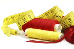 Sewing accessories. Colourful various sewing related items royalty free stock photo
