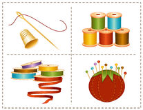 Sewing Accessories, Earth Colors. Collection of earth colored spools of ribbon & thread, pincushion with straight pins, gold thimble, needle & thread for sewing Stock Photography