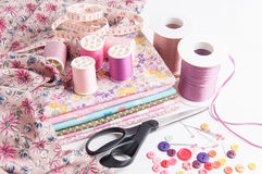 Sewing accessories and fabric. Stock Image