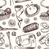 Sewing Accessories - hand drawn seamless pattern Royalty Free Stock Photos