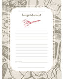Sewing Accessories - hand drawn template card. Royalty Free Stock Photo