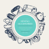 Sewing Accessories - modern drawn round banner. Stock Photo