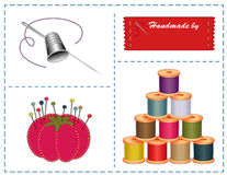 Sewing Accessories, Pantone Colors. Sewing accessories and notions for tailoring, quilting, needlework crafts and diy projects in latest Pantone fashion colors Royalty Free Stock Images