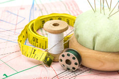 Sewing accessories on pattern cutting Royalty Free Stock Photography