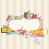 Sewing accessories. Pretty delicate pastel design of sewing accessories above a blank decorative cartouche or label on a patterned background vector illustration